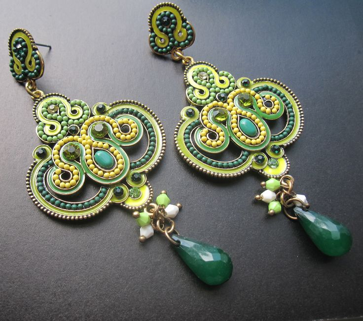 Green Soutache Earrings