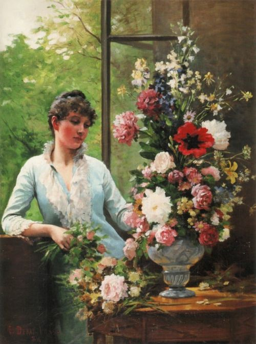 Edouard Debat-Ponsan, Preparing the flower arrangement, 1886