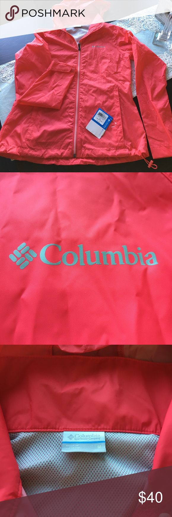 Columbia women's rain jacket Brand new ! Columbia switchback II jacket. Bought while on vacation in a pinch due to the weather forecast and I wore it for less than 10 minutes. I'm 5'10 and prefer men's jackets due to a very long torso. This jacket has a hood that rolls up when not in use and the whole jacket  is packable. Red camellia color is like a coral /red. Columbia Jackets & Coats