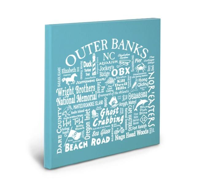 Outer Banks Location Gallery Wrapped Canvas (AQUA)