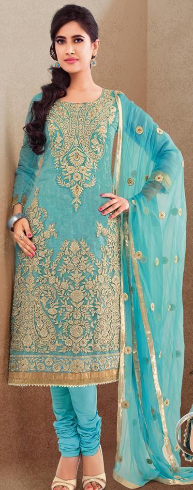 Blue Thread Work Cotton Churidar Salwar Suit 23964