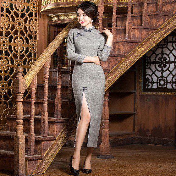 Sexy Gray Wool Long Sleeve Tea Length Cheongsam Evening Gown - iDreamMart.com