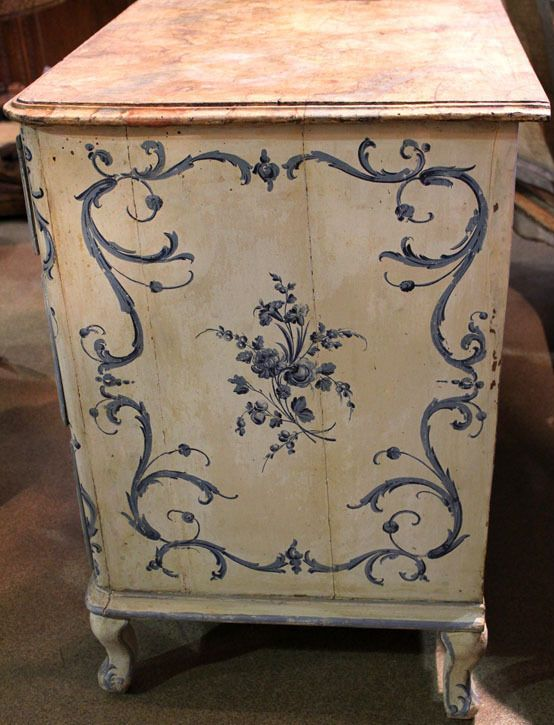 An 18th c. Italian Painted Blue & White Commode Chest of Drawers image 10