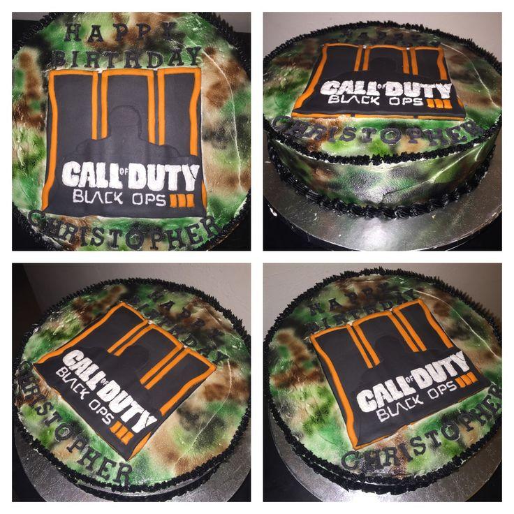 Call of Duty Black Ops 3 birthday cake. #cake #buttercream #frosting #airbrush #fondant #birthday #callofduty #blackops3 #gamer #videogame #fps #war #military #specialforces #xboxone #ps4 #xbox360 #ps3 #pc #instacake #cakeart #thebakerman #cakesandthings