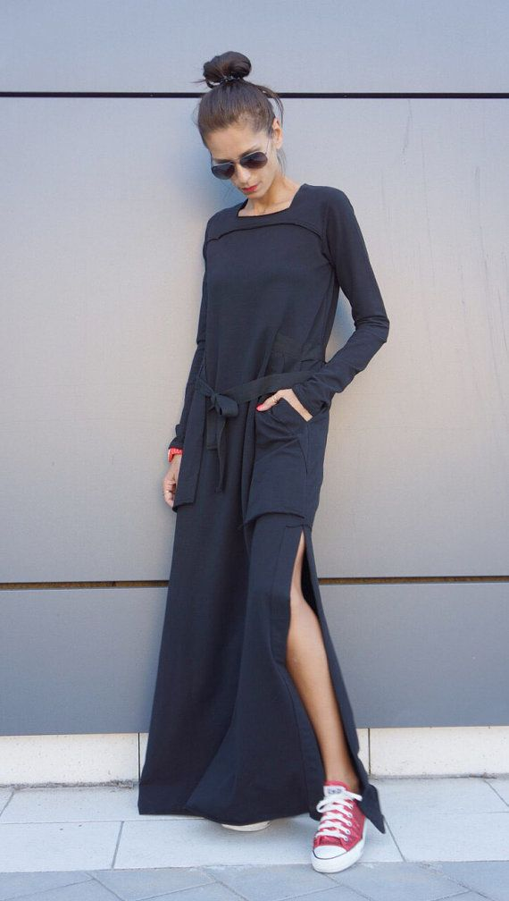 New 2016 Autumn Winter Maxi Dress / Black Kaftan Cotton  Dress /Side Pockets  Dress / Extravagant Cotton Party Dress /Daywear Dress A03464