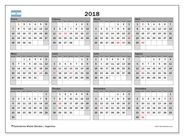 Calendario para imprimir  2018 - Días feriados en Argentina