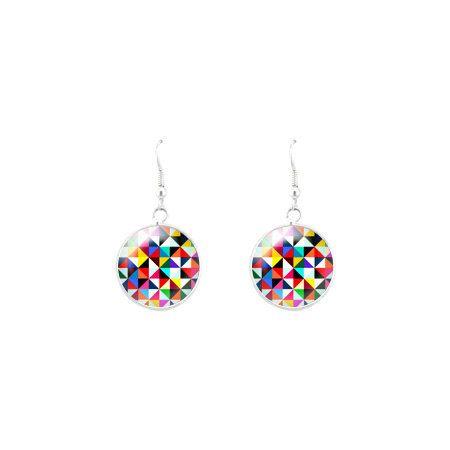Geometric earrings  checkerboard earrings  geometric by Milacrea