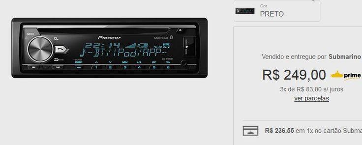 Som Automotivo Pioneer DEH-X7880BT com CD Player Bluetooth USB << R$ 24990 em 3 vezes >>