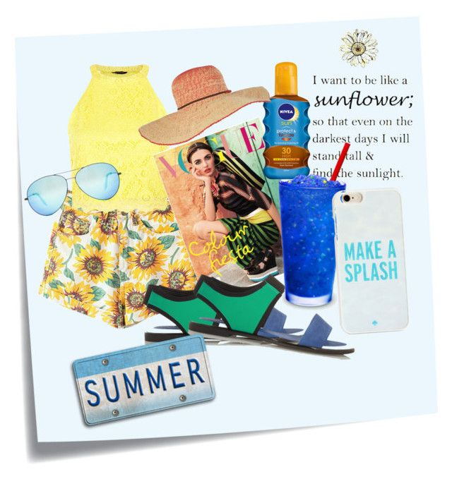 """summer fun"" by dzihan on Polyvore featuring Post-It, Kenzo, Nicole, Nivea, Billabong, Victoria Beckham and Kate Spade"