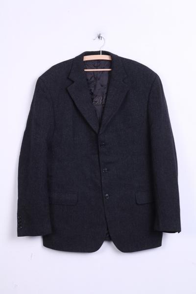 Gant Mens 102 L Blazer Jacket Dark Grey Wool Herringbone Portugal