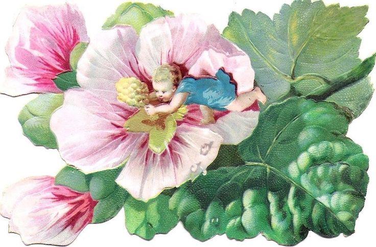 Oblaten Glanzbild scrap die cut  chromo Blumen Kind 12,3 cm Elfe Baby elf Blüte