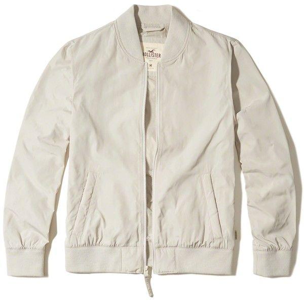 Hollister Bomber Jacket ($25) ❤ liked on Polyvore featuring men's fashion, men's clothing, men's outerwear, men's jackets, cream, mens nylon jacket, mens nylon bomber jacket, mens bomber jacket and mens full zip fleece jacket