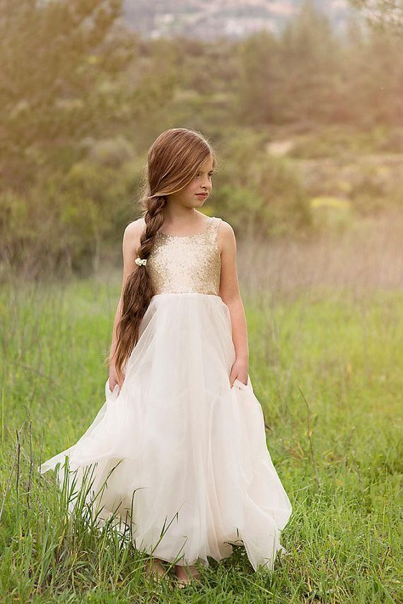 Newest Flower Girls Dresses For Weddings Princess Style Boat Neck Backless Gold Sequins On Top Tulle A Line Sleeveless 2016 White Dresses Teenage Girl Dresses Toddler Flower Girl Shoes From Shangshangxi, $76.89  Dhgate.Com