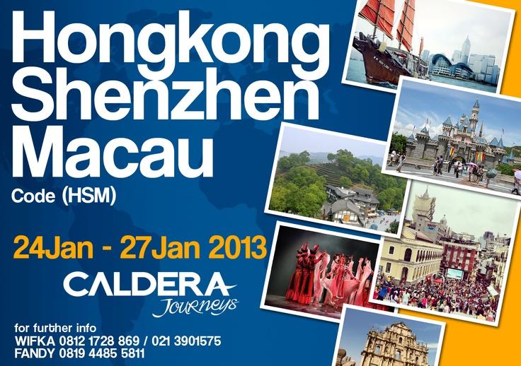 Hongkong - Shenzhen - Macau (24 Jan - 27 Jan 2013) Rp. 4,950,000  Harga termasuk :  • Tiket pesawat   • Accommodation based on dormitori or triple sharing  • Seluruh transportasi darat dari satu kota ke kota lainnya  • Tour leader  • Airport tax    Detail : wifka@calderaindonesia.com  / Telp. (021) 390 1575 ext 210 /