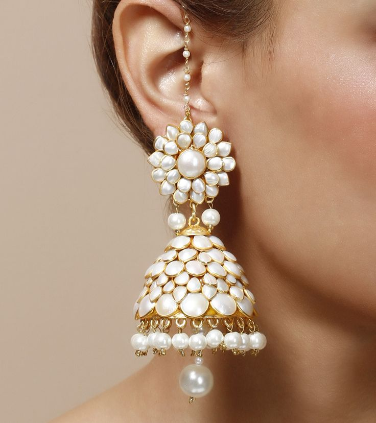 Pearl Embellished Jhumki #Earrings by @indianroots (except d big dangler) www.IndianRoots.com