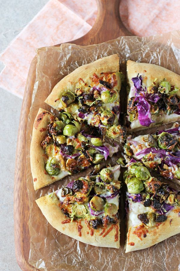 Roasted Brussels Sprout and Red Cabbage Pizza