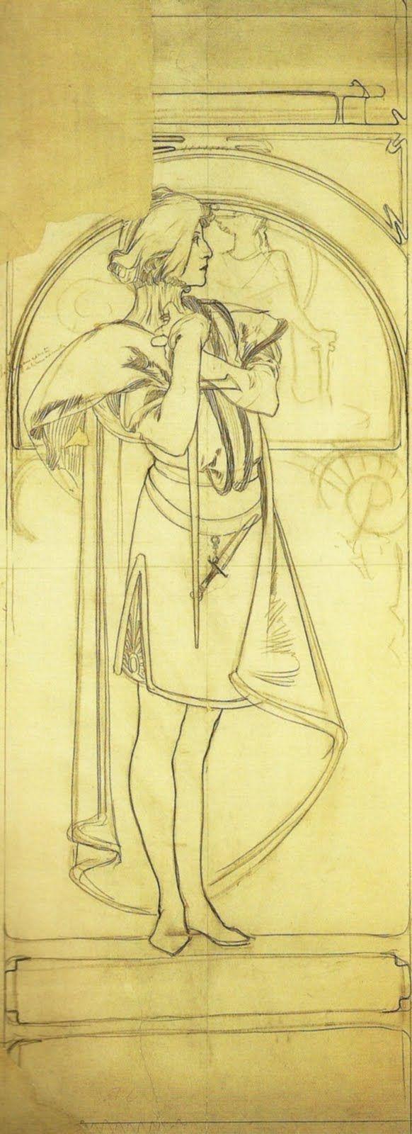 Alphonse Mucha - Esbozos para el Vestuario de Hamlet, 1899