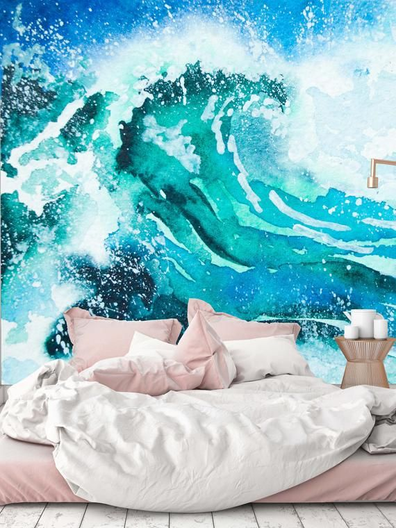 Removable Wallpaper Mural Peel & Stick Watercolor Painting Sea Wave