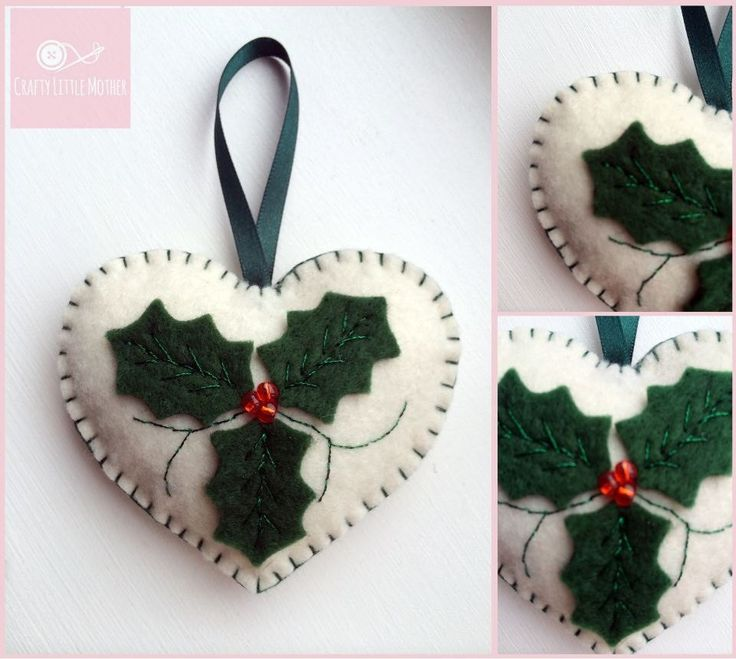 Handmade Felt Christmas Decorations  Holly Hearts (this listing is for 3 hearts)  These tree decorations make perfect additions to your tree or make lovely gifts. These are made with felt and stuffed to give them a 3D quality. They are 7 1/2 cm tall ( excluding ribbon ) All items are made to order so please allow up to two weeks for dispatch x
