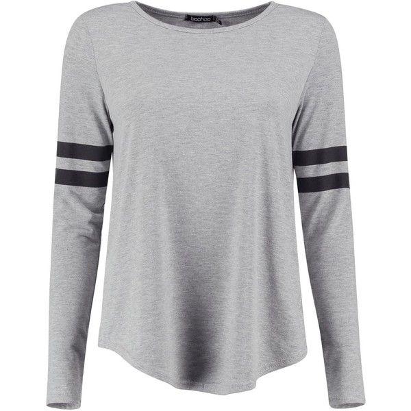 Shona Baseball Long Sleeve Top (€2,67) ❤ liked on Polyvore featuring tops, shirts, long sleeve tops and baseball top