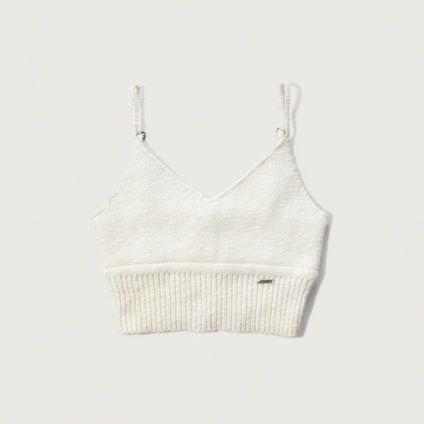 Abercrombie & Fitch Knit Longline Bralette Top ($28) ❤ liked on Polyvore featuring tops, cream, knit tops, spaghetti-strap top, bralet tops, strappy bralet top and longline top