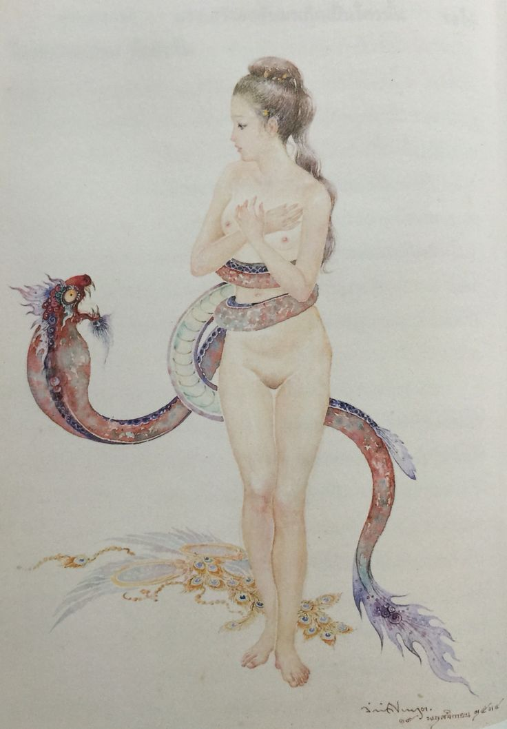 """""""Manorah caught in a magical Naga lasso"""", 1991, watercolor on paper, by Chakrabhand Posayakrit, a Thai national artist"""
