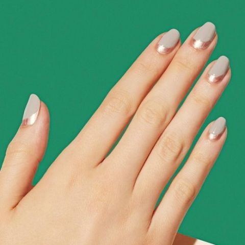 Manicure-wise, there's nothing more feminine than the traditional French tip. Change it up while keeping the same elegance by creating a reverse French tip design using contrasting colors. See this manicure on Paintbox Nails »
