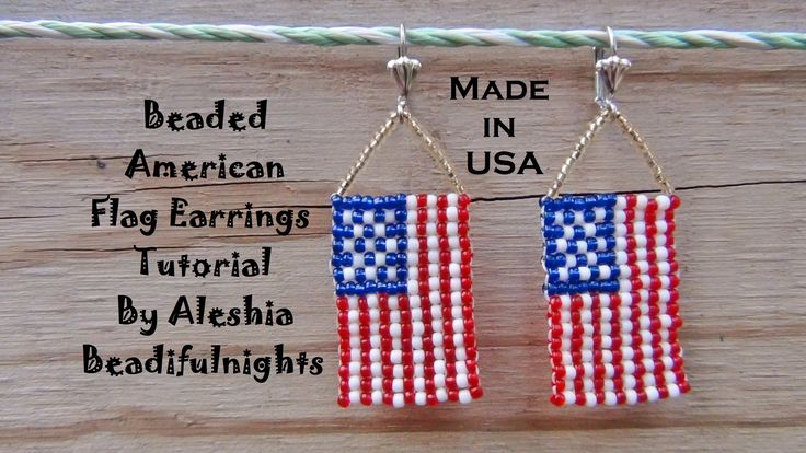 Beaded American Flag Earrings Tutorial from Aleshia Beadifulnights