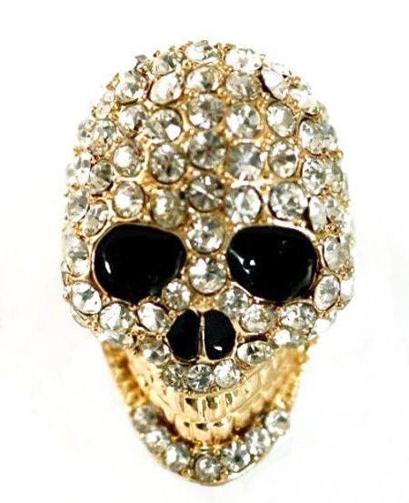 Anel de Caveira Dourado com Strass Prata #skull #ring #caveira #anel
