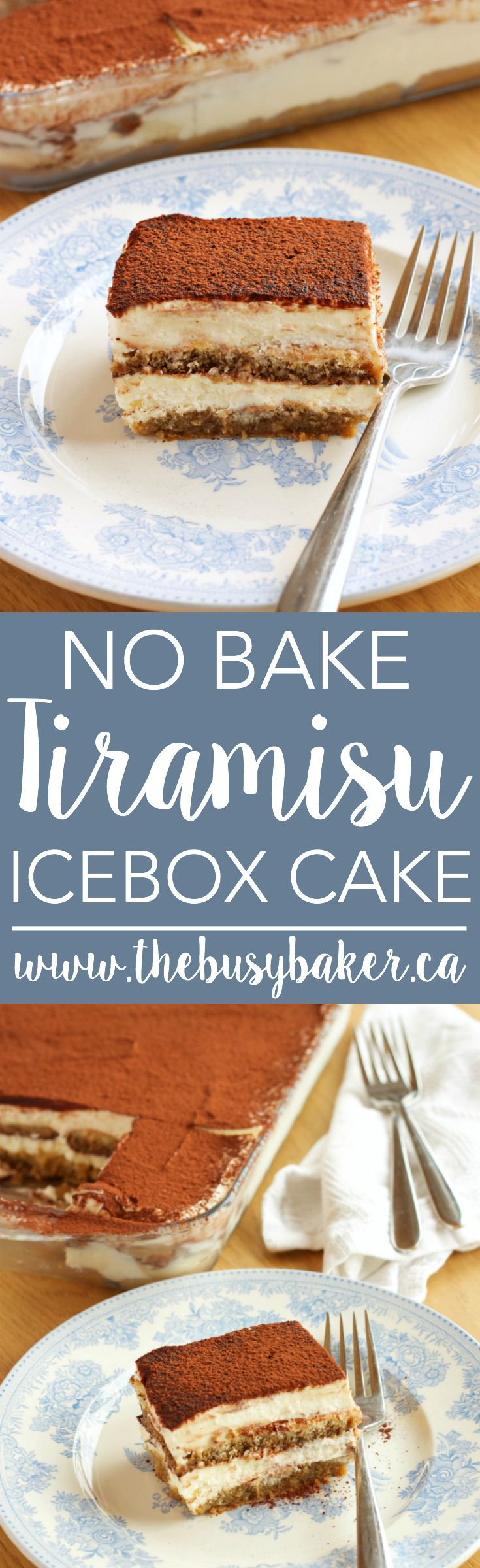 This No Bake Tiramisu Icebox Cake is the easy to make version of a traditional Italian Tiramisu, without raw eggs! Recipe on thebusybaker.ca via @busybakerblog