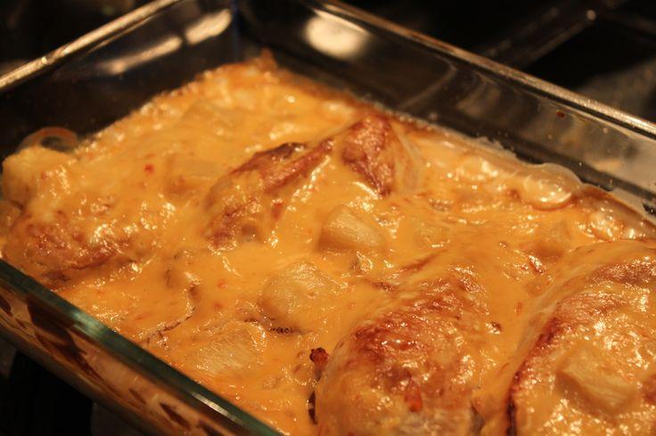 Kycklinggratäng med ingefära, ananas och sweet Chili.