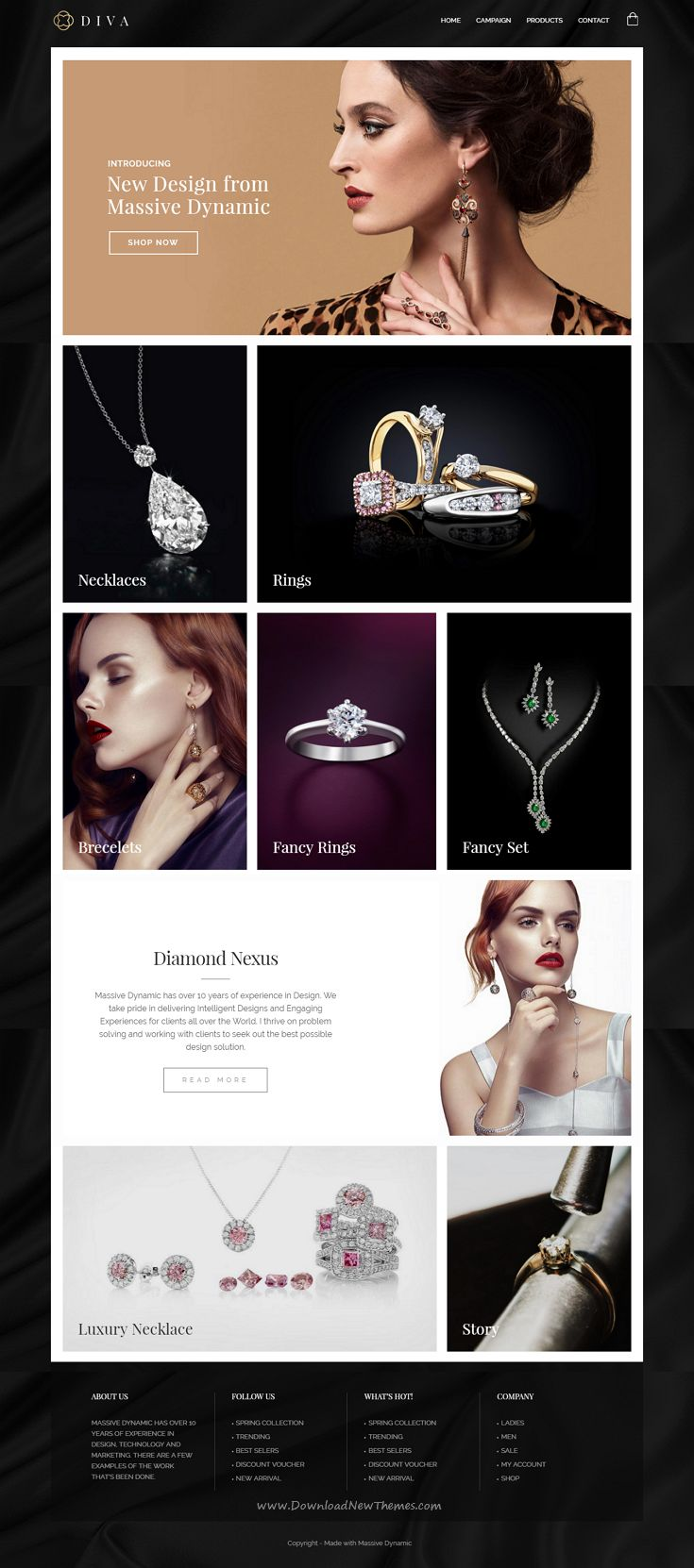 Massive Dynamic WordPress Website Builder come with 38 stunning dynamic layouts gives you the freedom of creating your very own design. Demo #Jewelry #website