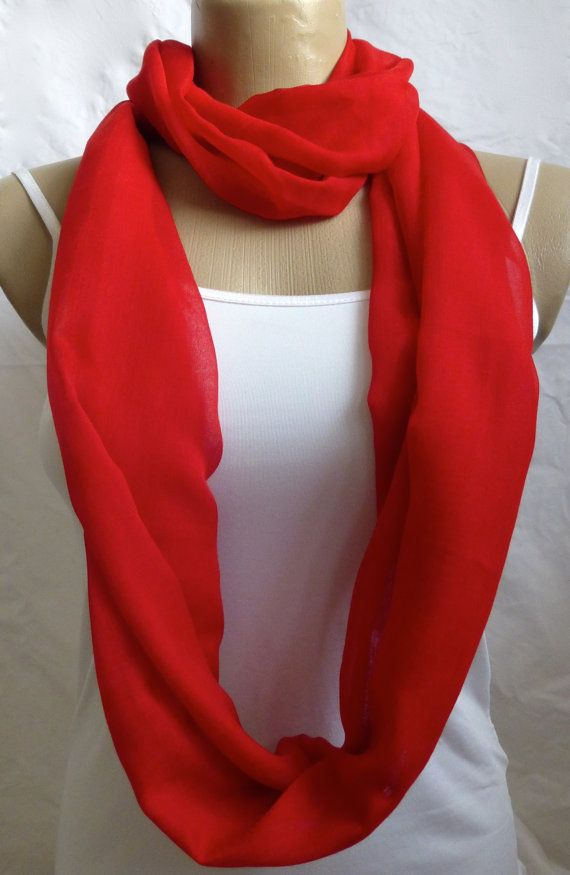 Infinity Scarf Bright red Soft Loop Scarf for by ShawlsandtheCity, $17.00