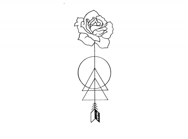 rose arrow on an arrow geometric illustration done by olivia fayne made into a temporary tattoo