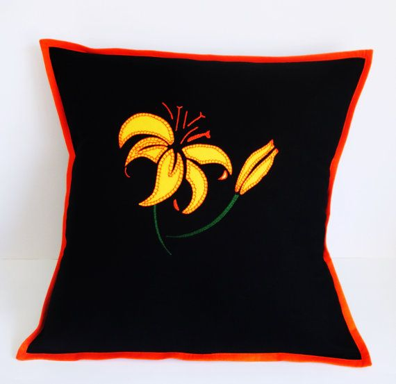 "Black Pillow Cover, Black Cushion Cover Size 16"" by 16"" appliquéd with yellow lily, Tropical Cushion Made in Australia Christmas Decorations"