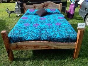 Camphor slab queen size bed $650.00 Illusive Wood Designs