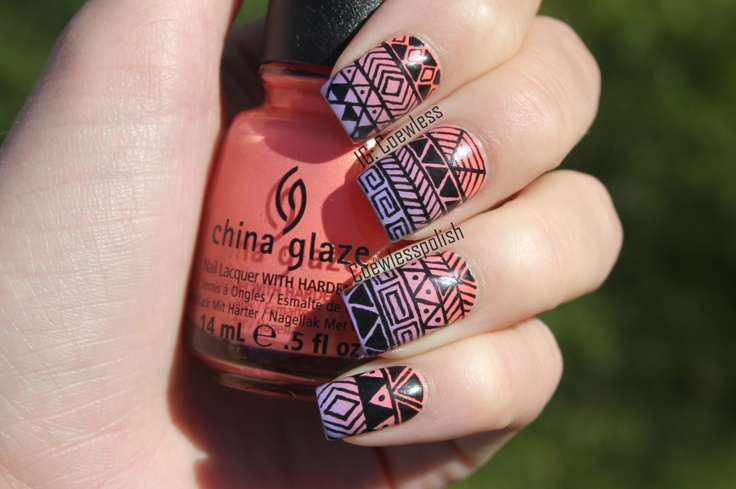 Tribal gradient by Eva of Coewless Polish. She does my favorite freehand nail art!
