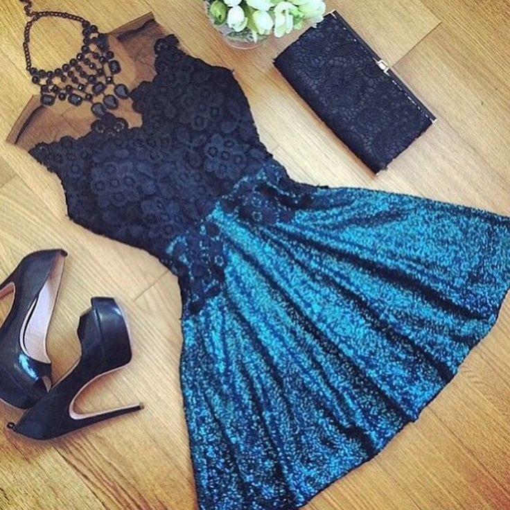 Fashion Stitching lace dress Backless sleeveless short dresses women – Blue