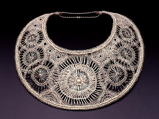 Arline Fisch - a textile artist in fine metal wire!  Hairpin lace, sterling fine silver and pearls