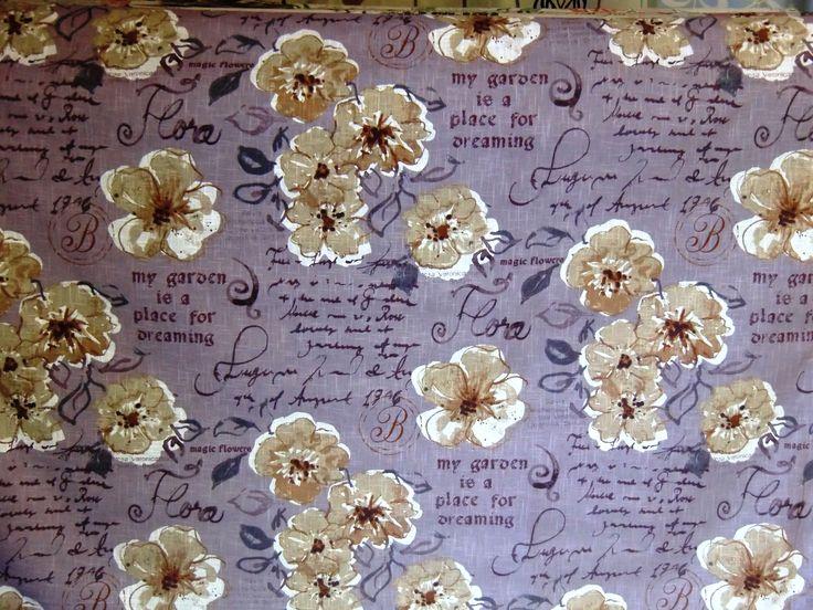 Romantiskt tyg till gardiner, dukar och kuddar. Bra pris!