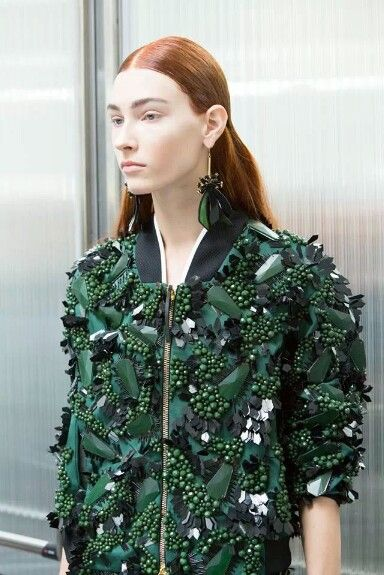 Marni, different textures and shades of green on a bomber jacket, love it! - STYLE DECORUM http://www.styledecorum.com/