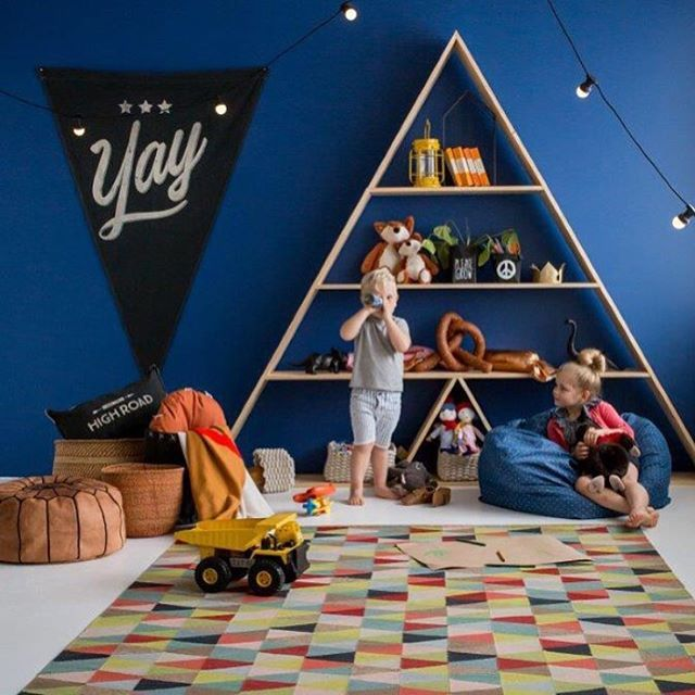 Yay! How cute is the playtime nook with our Jester rug styled by @alexandcorban. Definitely all kinds of cool @yourhomeandgarden! #armadilloandco #juniorcollection #jester #lielightly #regram