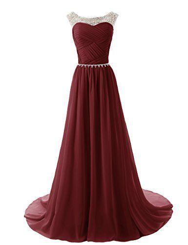 Custom Made A Line Round Neckline Maroon Long Prom Dresses 2015, Long Formal Dresses