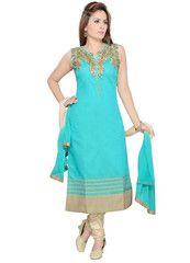 Firozi Color Art SilK Ready-made Salwar Suits ( Sizes - 36, 38, 40, 42, 44 ) : Shailja Collection  YF-42361