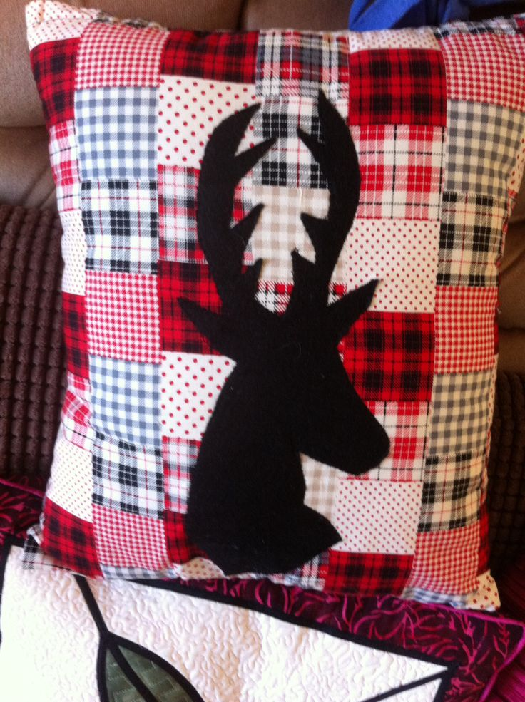 Hand made patch work cushion with stag head design