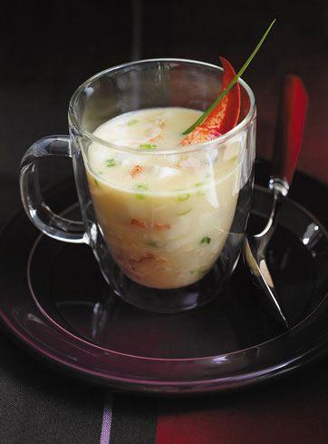 Soupe de homard au chocolat blanc