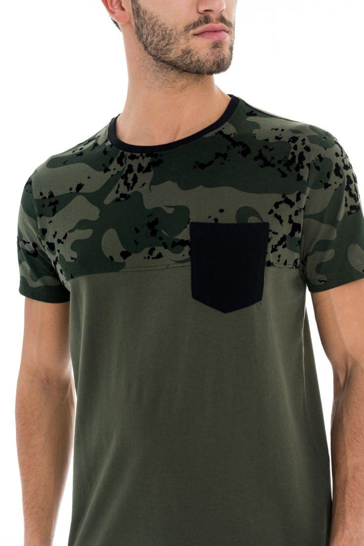 T-shirt slim fit com encaixe camuflado - Salsa