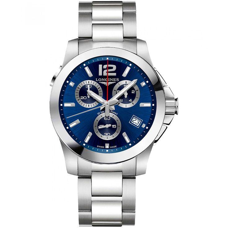 Reloj Longines con caja y bisel de acero inoxidable con acabado pulido extensible de brazalete carátula azul con efecto de rayos de sol manecillas e indicadores luminiscentes; movimiento de Cuarzo Calibre 442 y función de fechador.