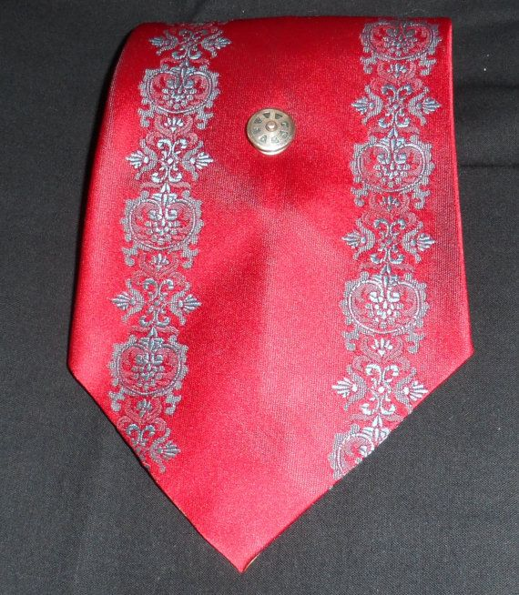 1970s COMMODORE TREVIRA TIE/Bright Vivid Red with by socialtyes