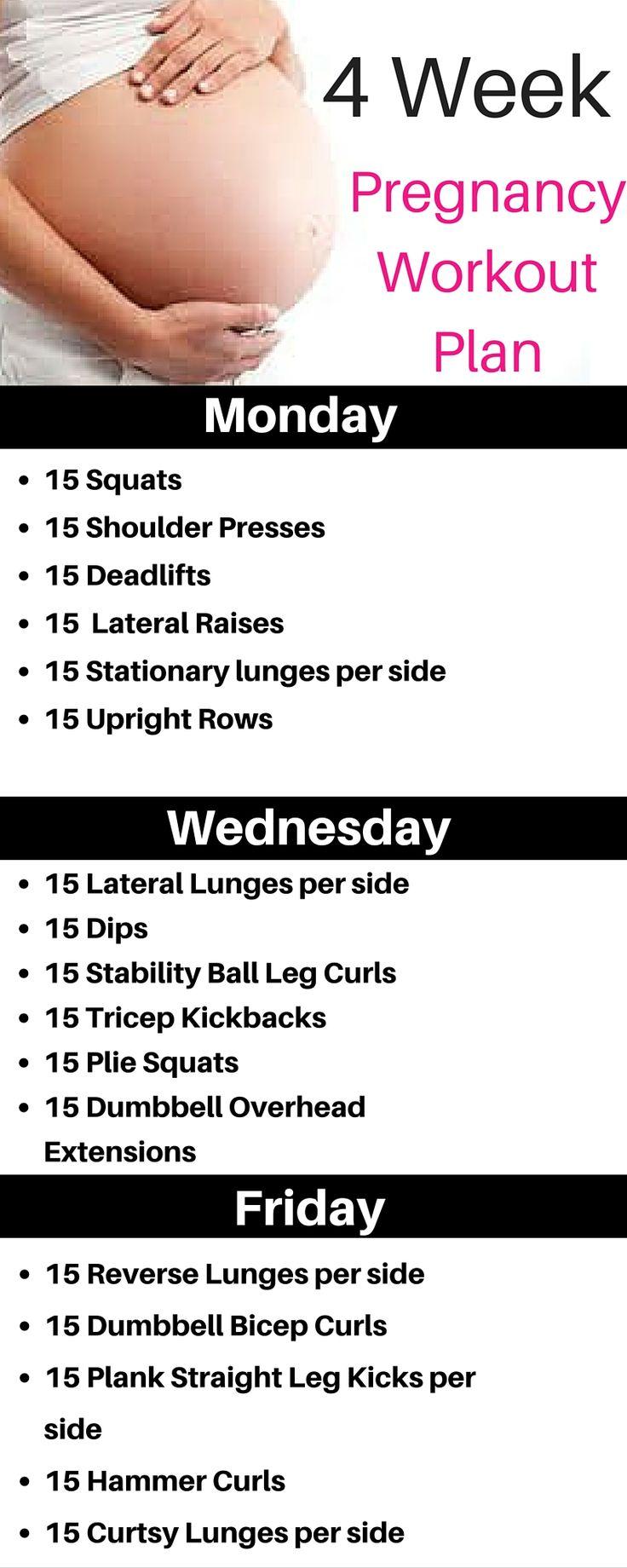 4 Week Prenatal Workout Plan. No gym needed.  Full Body safe workouts.